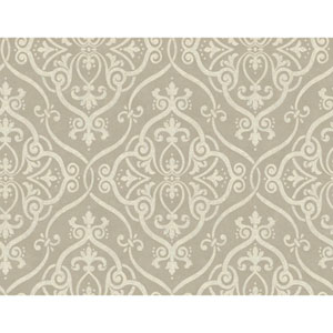 Glam Taupe and Silver Glitter Interlocking Geo Wallpaper