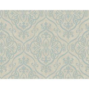 Glam Pale Taupe and Aquamarine Interlocking Geo Wallpaper