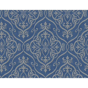 Glam Dark Blue and Gold Interlocking Geo Wallpaper