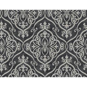 Glam Dark Grey and Silver Glitter Interlocking Geo Wallpaper