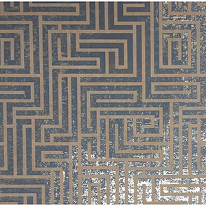 Mid Century Dark Blue Metallic Wallpaper