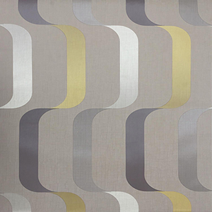 Mid Century Taupe and Yellow Wallpaper