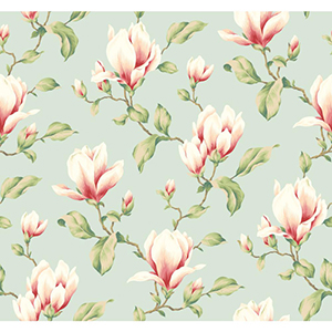 Inspired by Color Blue 3-Inch Wide Stripe Magnolia Branch Wallpaper