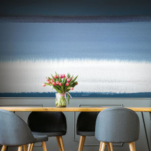 Splendor Art Gallery Blue and White Watercolor Horizon Peel and Stick Mural
