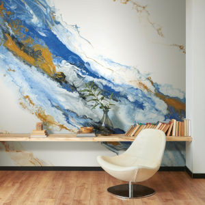 Splendor Art Gallery Blue and Gold Cystal Geode Peel and Stick Mural