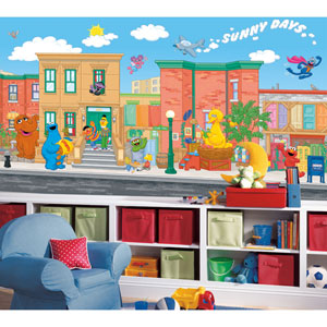 Sesame Street Chair Rail Prepasted Mural 6 Ft. x 10.5 Ft. - Ultra-strippable