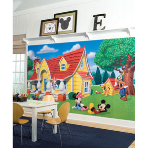 Mickey and Friends Chair Rail Prepasted Mural 6 Ft. x 10.5 Ft. - Ultra-strippable