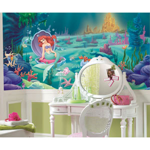 Littlest Mermaid Chair Rail Prepasted Mural 6 Ft. x 10.5 Ft. - Ultra-strippable