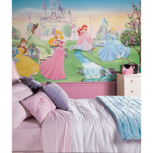 Dancing Princess Chair Rail Prepasted Mural 6 Ft. x 10.5 Ft. - Ultra-strippable