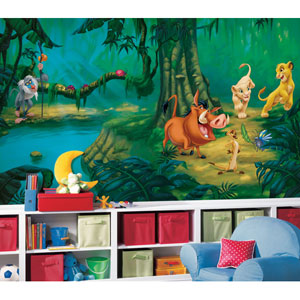 Lion King Chair Rail Prepasted Mural 6 Ft. x 10.5 Ft. - Ultra-strippable