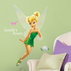 Disney Faries - Tinkerbell Peel and Stick Giant Wall Decal w/Personalization