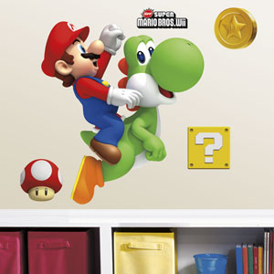 Yoshi and Mario Peel and Stick Giant Wall Decals