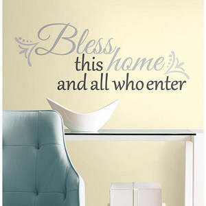 Deco Grey Bless this Home Peel and Stick Wall Decal