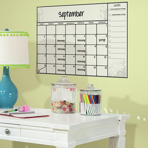 Deco White Scroll Dry Erase Calendar Peel and Stick Wall Decal