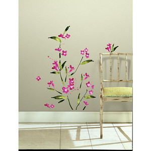 Deco Fuchsia Flower Arrangement Peel and Stick Wall Decal