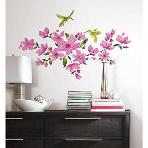 Deco Pink Flowering Vine Peel and Stick Wall Decal