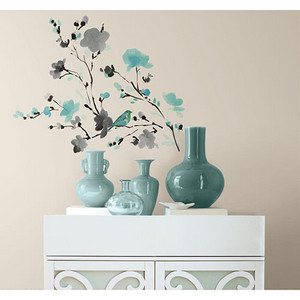 Deco Multicolor Blossom Watercolor Bird Branch Peel and Stick Wall Decal