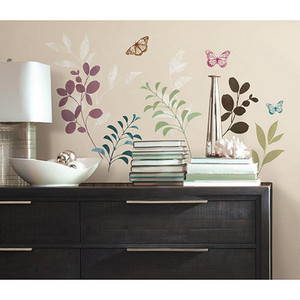 Deco Multicolor Botanical Butterfly Peel and Stick Wall Decal