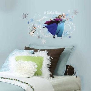 Popular Characters Blue Frozen Elsa, Anna and Olaf Peel and Stick Giant Wall Decal