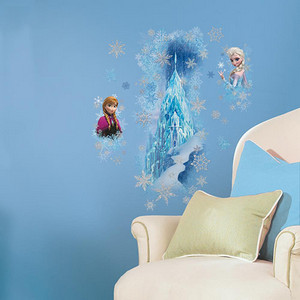 Popular Characters Blue Frozen Ice Palace with Else and Anna Peel and Stick Giant Wall Decal
