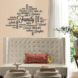 Deco Black Family Quote Peel and Stick Wall Decal