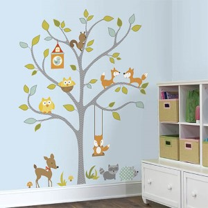 Multicolor Woodland Fox Friends Tree Peel and Stick Wall Decal