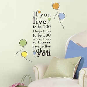 Popular Characters Multicolor Winnie the Pooh Peel and Stick Wall Decal