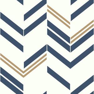 Blue Chevron Stripe Peel and Stick Wallpaper