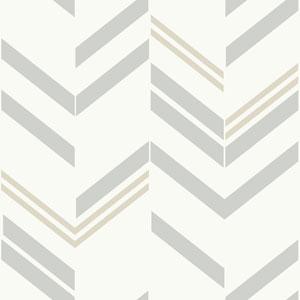 Grey Chevron Stripe Peel and Stick Wallpaper