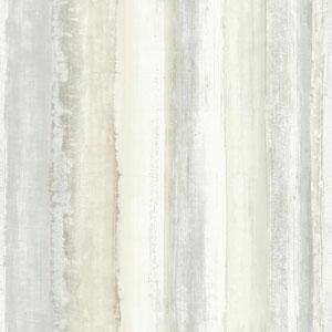 Tan Watercolor Stripe Peel and Stick Wallpaper