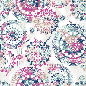 Bohemian Pink and Blue Peel and Stick Wallpaper