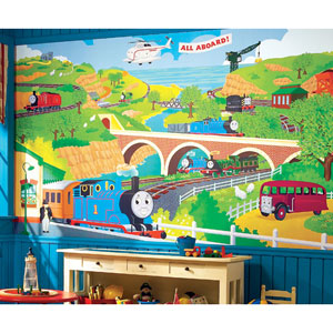 Thomas the Train Chair Rail Prepasted Mural 6 Ft. x 10.5 Ft. - Ultra-strippable