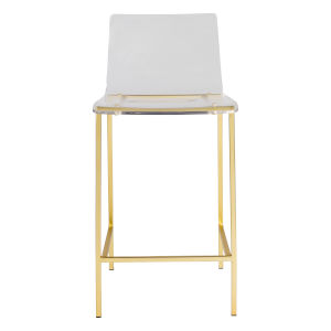 Chloe Clear and Matte Brushed Gold Counter Stool, Set of 2