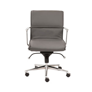 Leif Gray Leatherette Low Back Office Chair