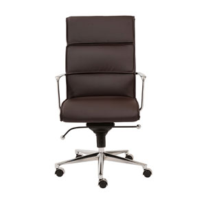Leif Brown Leatherette High Back Office Chair