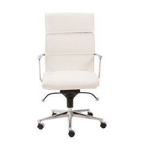 Leif White Leatherette High Back Office Chair