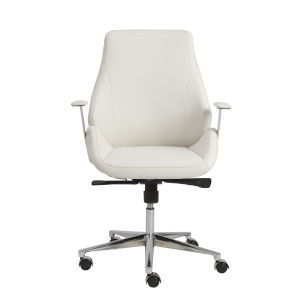 Bergen White 27-Inch Low Back Office Chair