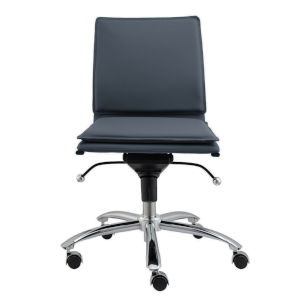 Gunar Blue 26-Inch Pro Low Back Armless Office Chair