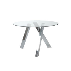 Fridrika Clear and Stainless Steel 48-Inch Dining Table