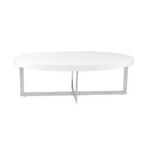 Oliver White and Stainless Steel 47-Inch Coffee Table