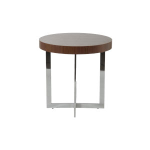 Oliver Walnut and Stainless Steel 22-Inch Side Table