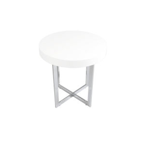 Oliver White and Stainless Steel 22-Inch Side Table
