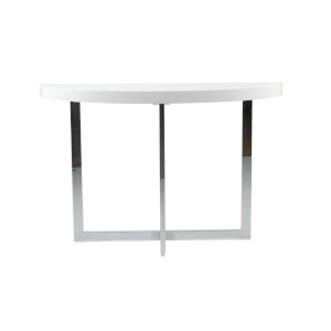 Oliver White and Stainless Steel 47-Inch Console Table
