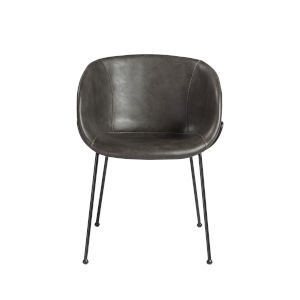 Zach Dark Gray Leatherette 22-Inch Arm Chair, Set of 2
