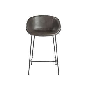 Zach Dark Gray Leatherette 21-Inch Counter Stool, Set of 2