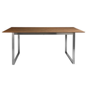 Alvarado Walnut and Stainless Steel 71-Inch Rectangular Dining Table