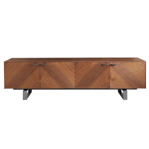 Alvarado Walnut and Stainless Steel 71-Inch Media Stand