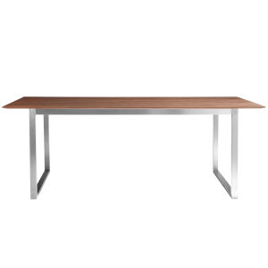 Alvarado Walnut and Stainless Steel 84-Inch Rectangular Dining Table