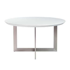 Tosca White and Stainless Steel 54-Inch Round Dining Table
