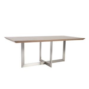 Tosca Walnut and Stainless Steel 79-Inch Rectangle Dining Table